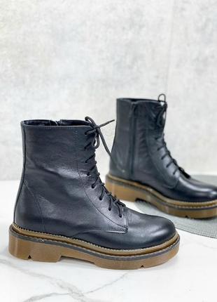 Женские ботинки черные на шнурках на платформе натуральная кожа тет 2-4