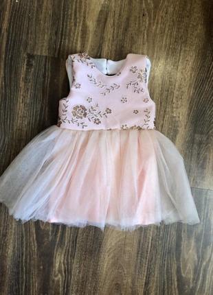 Платье на годик 74р, персиковое