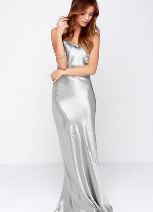 Макси сарафан длинное платья в пол серебристое металик вечерние h&m