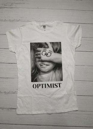 Распродажа! прикольная женская белая футболка с принтом optimist