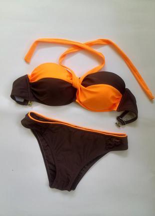 Большой выбор, низкие цены, заходите и подписывайтесь!купальник бандо оранжевый/коричневый