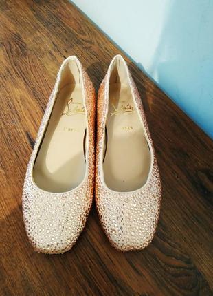 Christian louboutin туфли балетки свадебная обувь размер 38