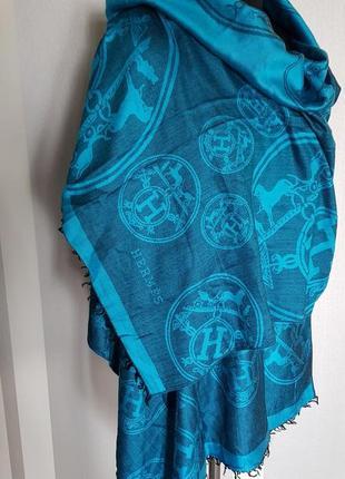 Шикарный огромный шарф палантин шаль бирюзового цвета в логотипах hermes