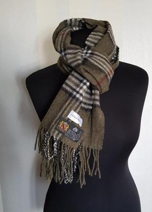 Классный шерстяной шарф в клетку цвета хаки