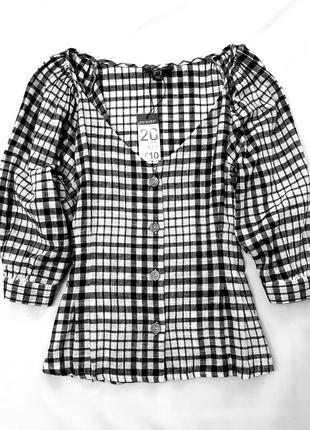 Primark блуза блузка в клетку большой размер батал 48 пог 63 см рукава буфы