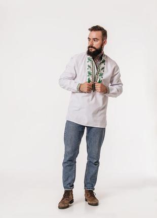 Вышиванка мужская на домотканном полотне. вишиванка чоловіча на 100% бавовні