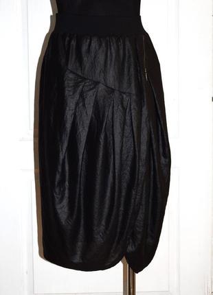 Оригинальная черная миди юбка бочонок superstar под кожу р.m