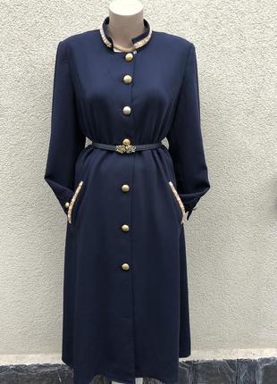 Винтаж,синее платье-халат на застёжке,вышивка бисером,стразы,восточное