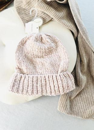 Розовая шапка 💖синель велюр размер м