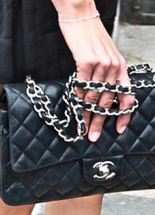 Черная сумка клатч цепочка chanel
