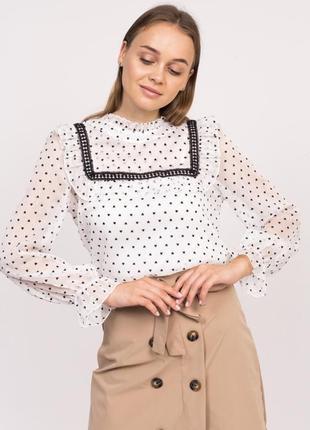 Блузка в сердечка с длинным рукавом