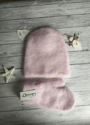 Комплект шапка и варежки!шапка бини!шапка и рукавиці!шапка ангорова!шапка одиссей