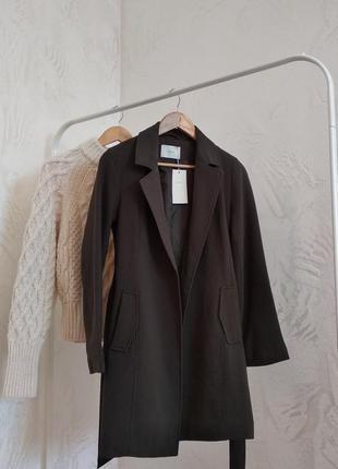 Удлинённый пиджак-пальто цвета хаки