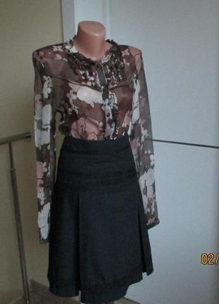 Блуза шифоновая nafnaf с цветочным узором, на пуговицах, с длинным рукавом. размер 38