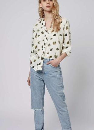 Бежевая блуза-рубашка в кактусы topshop(размер 40-42)