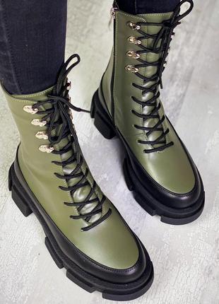 36-40 ботинки женские деми зима белая кожа трендовая модель стильные модные на шнуровке