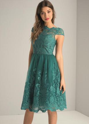 Шикарное изумрудное платье выпускное вечернее торжественное chi chi london