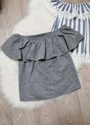 Женская кофта футболка блуза с открытыми плечами рюшей