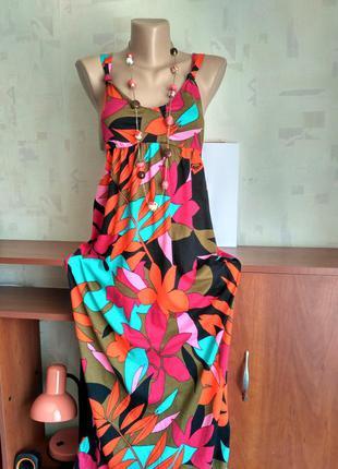 Яркое длинное платье макси, сарафан в пол, цветочный принт, 42-44-46