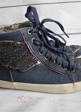 Кеды джинсовые красивые,блестящие высокие на шнурках и молнии next