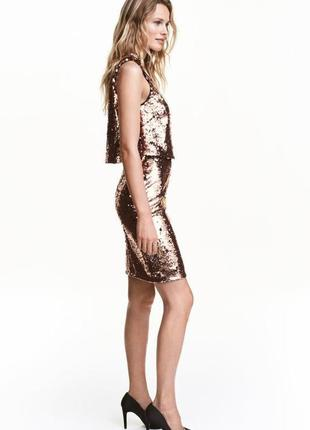 Платье золотое расшито пайетками h&m premium