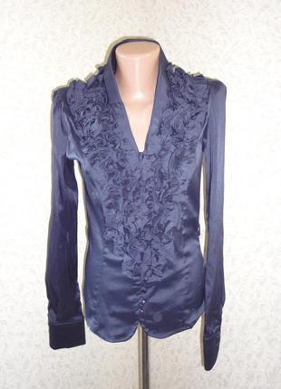 Синяя блуза стрейч р.10