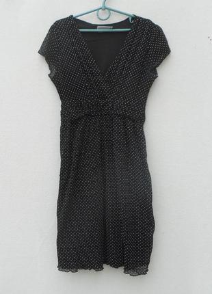 Летнее трикотажное  платье в горошек молодежное
