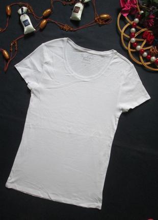 Классная хлопковая стрейчевая базовая белая футболка peacocks