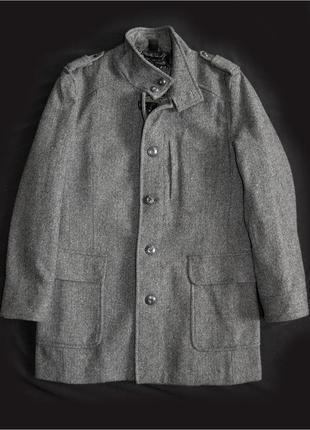 Мужское шерстяное (80%) деми пальто zara p.l\xl