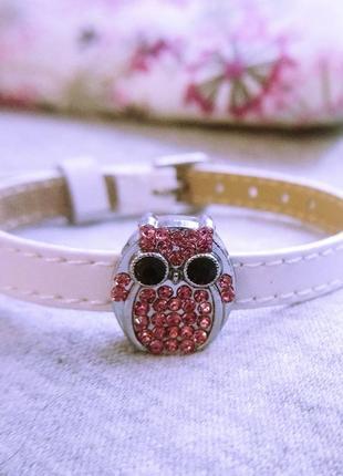 Женский кожаный браслет с совой