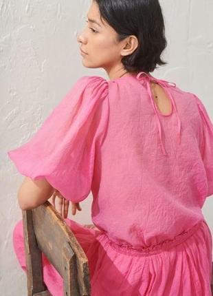 Воздушная креповая блуза с обьемными рукавами от h&m
