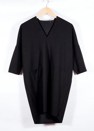 Классическое платье черное, дизайнерское платье демисезонное, женское платье, сукня