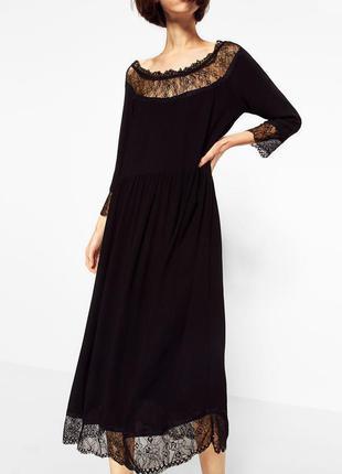 Платье zara миди с кружевом