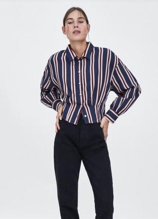 Шикарная укорочённая рубашка в полоску zara