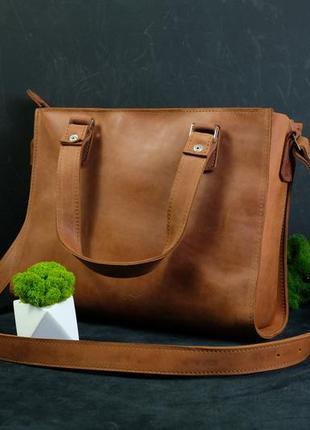 Женский кожаный мессенджер, сумка шоппер, сумка для учебы, винтажная кожа цвет коньяк