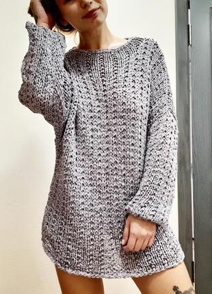 Свитер вязаный, свитер оверсайз, обьемный вязаный свитер
