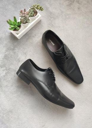 Классические стильные кожаные чёрные туфли topman