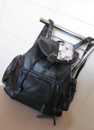 Молодежный городской рюкзак с боковыми карманами из эко кожи