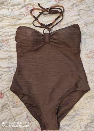 Шикарный шоколадный красивый купальник с утяжкой в бассейн или на пляж