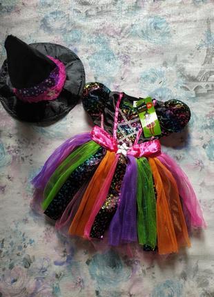 Карнавальный костюм на хеллоуин,платье ведьмы,ведьмочка, волшебница бренд tu на 6-9 мес!