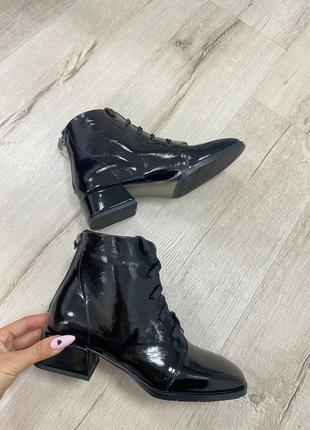 Ботинки с итальянской кожи лак кожаные кожані ботинки осенние зимние