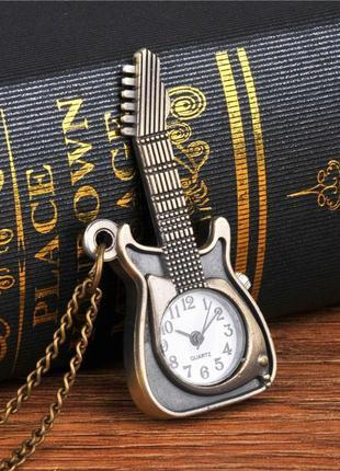 Винтажные карманные часы гитара на цепочке