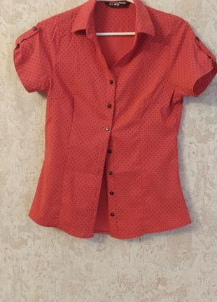 Рубашка с коротким рукавом в горошек