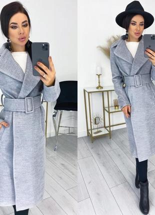 Кашемировое пальто с поясом прямого силуэта