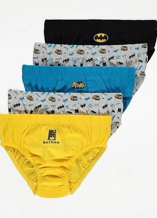 Трусики бэтмен для мальчика 5 штук от george. размер 2-3,3-4 года