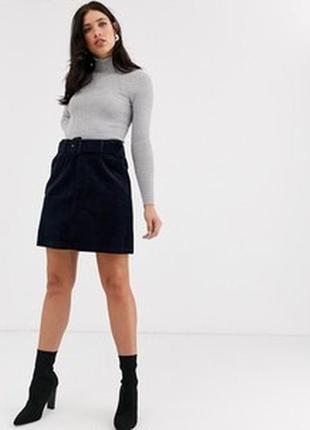 Вельветовая чёрная юбка мини трапеция с 8