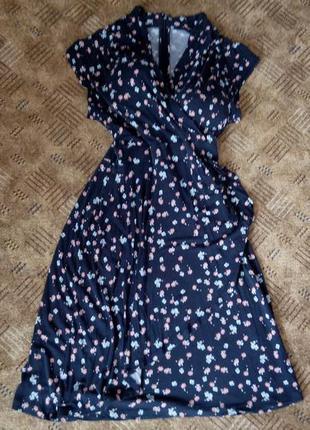 Платье сарафан 48 50 размер нарядное миди цветочный принт french connection