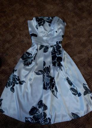 Платье миди принт бюстье вечернее выпускное 46 48размер сарафан south pole