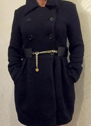 Пальто вязаное тёплое