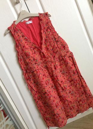 Тонкое нежное 2-слойное платье хлопок-шелк, италия